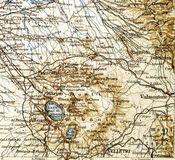 Old map from geographical Atlas 1890 with a fragment of the Apennines, Italian Peninsula. Central Italy. Royalty Free Stock Photography