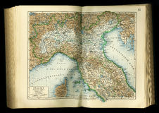 Old map from geographical Atlas 1890 with a fragment of the Apennines, Italian Peninsula. North Italy. Royalty Free Stock Photos