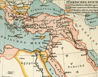 Old map from geographical Atlas, 1890. The Turkish Ottoman Empire. Turkey. Stock Images