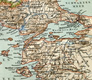 Old map from geographical Atlas, 1890. The Turkish Ottoman Empire. Turkey. Stock Photo