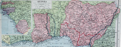 Old 1945 Map of Guinea, West Africa. Stock Photos