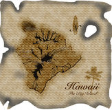 Old map of Hawaii on parchment royalty free illustration