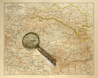 Old map of Hungarian Empire with magnifying glass Stock Image