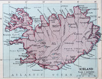 Old 1945 Map of Iceland. Stock Image