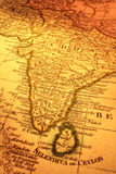 Old Map of India and Sri Lanka Royalty Free Stock Images