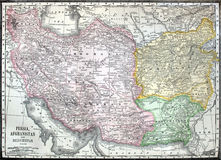 Old map of Iran, Afganistan and Pakistan Royalty Free Stock Image