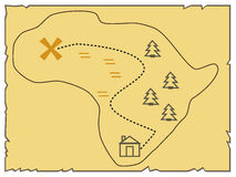 An old map of the island, indicating the route. Vector illustration Royalty Free Stock Photo