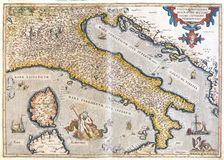 Old map of Italy Royalty Free Stock Photo