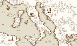Old map of Italy, Medieval cartography, vector illustration Stock Images