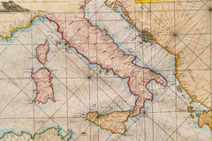 Old map of Italy, Sicily, Corsica, Croatia and Sardinia. Old naval map of Italy, Sicily, Corsica and Sardinia Stock Photo