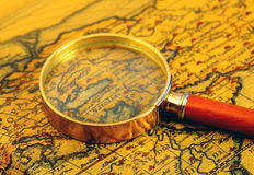 Old map and  magnifier Royalty Free Stock Photos