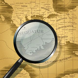 Old map and magnifying glass Stock Photos
