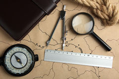 Old map with measuring tools Stock Images