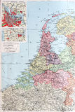Old 1945 Map of Netherlands or Holland. Detailed Old 1945 Map of Netherlands, Holland,including detail of major road and railway networks. Inserts of North Sea Stock Photography