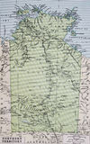 Old 1945 Map of Northern Territory, Australia,. Detailed Old 1945 Map of Northern Territory, Australia with major road and railway networks Royalty Free Stock Photo