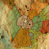 Old map with objects funny design Royalty Free Stock Images
