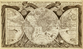 Old Map Of The World, Printed In 1630 Stock Image