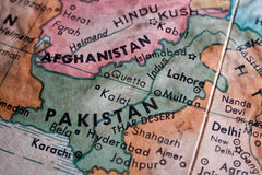 Old map of Pakistan and Afganistan. Closeup on the troubled region around Pakistan Royalty Free Stock Images