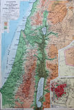 Old 1945 Map of Palestine, Middle East Royalty Free Stock Photography