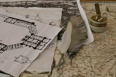 Old map, a pen and drawing of house. Royalty Free Stock Images