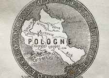 Old Map of Poland Stock Photography