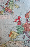 Old 1945 Map of the political frontiers in 1914 Royalty Free Stock Photo