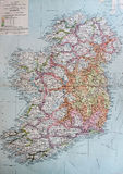 Old 1945 Map of the political and principal railway system of Ireland Royalty Free Stock Photo