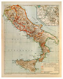 Old map of Rome and Old Italy Royalty Free Stock Photos