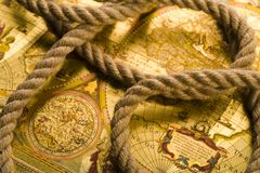 Old map & Rope Stock Photography