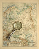 Old map of Russia with magnifying glass Stock Images