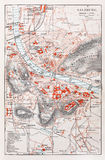 Old map of Salzburg Royalty Free Stock Photos