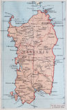 Old 1945 Map of Sardinia. Royalty Free Stock Photos