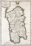 Old map of Sardinia, Italy Stock Photography
