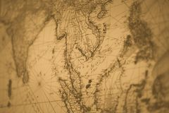 Old map Siam or Thailand vintage. Color tone for background royalty free stock images