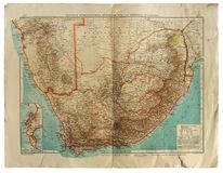 Old map of South Africa. Kiev, Ukraine - Feb. 12, 2018: ILLUSTRATIVE EDITORIAL Image of old scruffy map that shows German and British colonies in South Africa Stock Photo