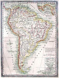 Old Map of South America Stock Image