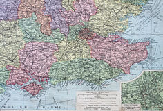 Old 1945 Map of the South East of England. Royalty Free Stock Photos