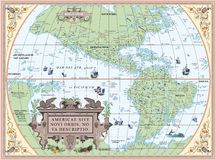 Old map of South and North America Royalty Free Stock Photo