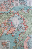 Old 1945 Map of the South Pole region. Royalty Free Stock Photography