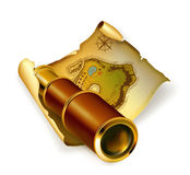 Old map and spyglass. Computer illustration, isolated on the white vector illustration
