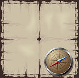 Old map with Steel Compass. Steel detailed compass over old map. Additional vector format in EPS 8 Stock Photos