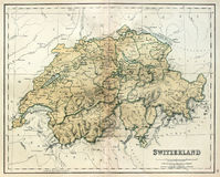 Old map of Switzerland. Antique map of Switzerland, line colored, dated 1850 Stock Image