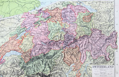Old 1945 Map of Switzerland Stock Photo