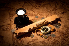 Old map and things for travel Stock Image