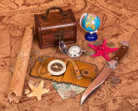 Old map and things for travel Royalty Free Stock Photo