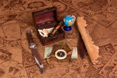Old map and things for travel Stock Images