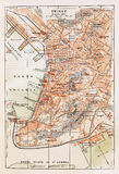 Old map of Trieste Stock Images