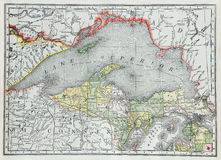 Old Map of Upper Michigan Royalty Free Stock Photos