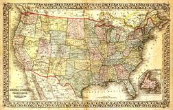 Old map of USA