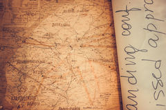 Old map of west Ukraine. Close up stock images